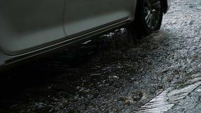 El coche pasa en el asfalto mojado después de la lluvia, cámara lenta almacen de video