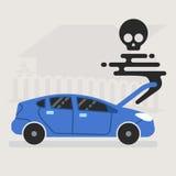 El coche quebrado muere en el camino con humo negro stock de ilustración