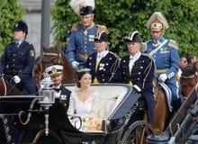 El coche real que lleva al príncipe sueco Carl-Philip Bernadot Fotografía de archivo libre de regalías