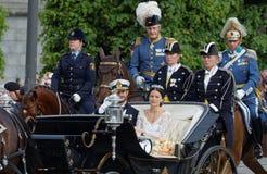 El coche real que lleva al príncipe sueco Carl-Philip Bernadot Fotografía de archivo