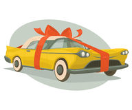 El coche retro es un presente Imágenes de archivo libres de regalías