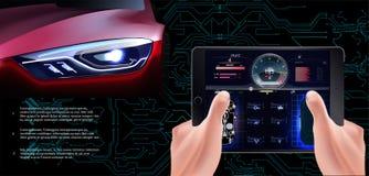 El coche rojo futurista en un fondo tecnológico Coche de la exploración, ilustración del vector