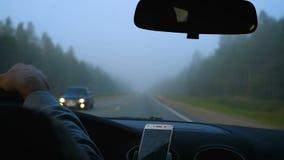 El coche se mueve en un camino de niebla del bosque almacen de metraje de vídeo
