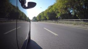 El coche se mueve a lo largo de la calle de la ciudad a lo largo del parque en un día de verano soleado almacen de video