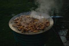 El cocinar al aire libre Imágenes de archivo libres de regalías
