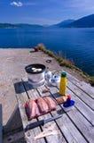 El cocinar al aire libre de la caballa Imagen de archivo libre de regalías