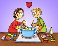 El cocinar con amor Fotografía de archivo libre de regalías