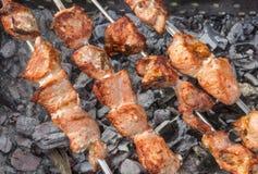 El cocinar de la carne de cerdo al aire libre en los pinchos Fotografía de archivo