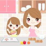 El cocinar de la madre y de la hija ilustración del vector