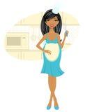 El cocinar de la mujer embarazada del African-american Libre Illustration