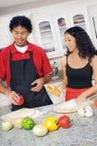 El cocinar de los pares Imagen de archivo