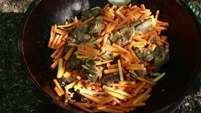 El cocinar del pilaf Verduras asadas a la parrilla en una caldera, al aire libre Comida del Bbq Concepto que acampa almacen de metraje de vídeo