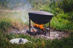 El cocinar en el fuego con el pote Fotografía de archivo