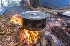 El cocinar en la naturaleza Foto de archivo libre de regalías