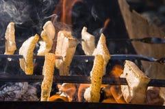 El cocinar en la naturaleza Tocino sabroso de la asación en el brasero con la hoguera y el carbón imagen de archivo