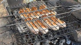 El cocinar en los carbones calientes almacen de video