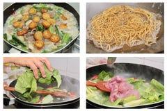 El cocinar hecho en casa, tallarines curruscantes y wonton crisy en col rizada china Imagenes de archivo