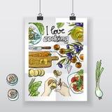 El cocinar hermoso del amor del cartel i del mano-drenaje Imagen de archivo libre de regalías