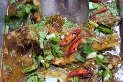 El cocinar tailandés frito de la comida de los pescados fotografía de archivo