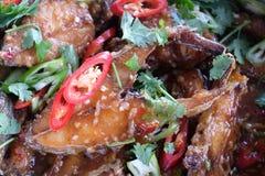 El cocinar tailandés frito de la comida de los pescados fotografía de archivo libre de regalías