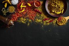 El cocinar usando las especias de tierra frescas con los cuencos grandes y pequeños de especia en una tabla negra con derramamien Fotos de archivo