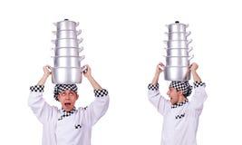 El cocinero con la pila de potes en blanco fotos de archivo