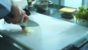 El cocinero corta cebollas en el tablero en la cocina almacen de metraje de vídeo