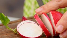 El cocinero corta el rábano en rebanadas almacen de metraje de vídeo