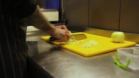El cocinero corta rápidamente verdes almacen de video