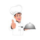 El cocinero da los pulgares encima de la historieta Foto de archivo libre de regalías