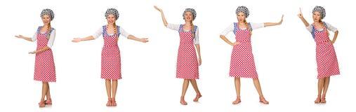 El cocinero de la mujer aislado en el fondo blanco Fotos de archivo libres de regalías