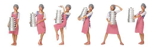 El cocinero de la mujer aislado en el fondo blanco Imagen de archivo libre de regalías