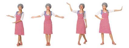 El cocinero de la mujer aislado en el fondo blanco Imagen de archivo