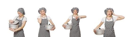 El cocinero de la mujer aislado en el fondo blanco fotografía de archivo