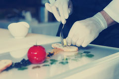 El cocinero está cocinando un plato gastrónomo, imagen entonada Fotografía de archivo libre de regalías