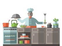 El cocinero está en la cocina del restaurante Un cocinero está haciendo una pausa la estufa y está preparando la comida Ilustraci Fotos de archivo