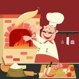 El cocinero está haciendo la pizza en el horno Cocina de la pizzería libre illustration