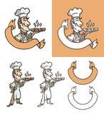 El cocinero está sosteniendo la pizza Imagen de archivo libre de regalías