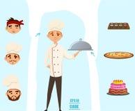 El cocinero fijó con las diversos caras y platos, cocinero de sushi, pizza, panadero Ilustración del vector historieta tendencia Fotos de archivo