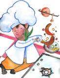 El cocinero hace saltar los pescados libre illustration