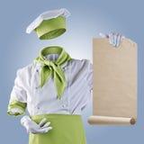 El cocinero invisible muestra el menú en un fondo azul Fotografía de archivo