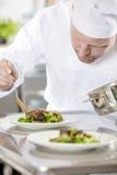 El cocinero profesional prepara el plato de la carne en el restaurante Foto de archivo libre de regalías