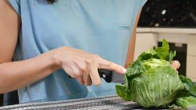 El cocinero que corta la col blanca en la tabla, se cierra encima de las manos femeninas Concepto sano de la comida de la dieta almacen de metraje de vídeo