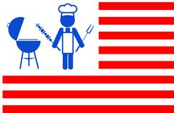 El cocinero que hace la parrilla del Bbq con rojo raya el fondo Imagen de archivo