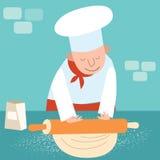 El cocinero rueda la pasta libre illustration