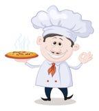 El cocinero sostiene una pizza caliente Fotos de archivo libres de regalías