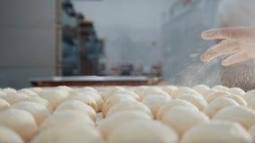 El cocinero tamiza la harina y el azúcar que adorna las empanadas en el cierre de la panadería para arriba Foto de archivo libre de regalías