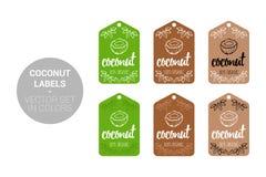 El coco Eco etiqueta el sistema del vector en colores verdes y marrones ilustración del vector