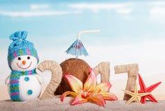 El coco en lugar de otro numera 0 en la cantidad 2017, muñeco de nieve contra el mar Imágenes de archivo libres de regalías