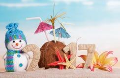 El coco en lugar de otro numera 0 en la cantidad 2017, muñeco de nieve contra el mar Fotografía de archivo